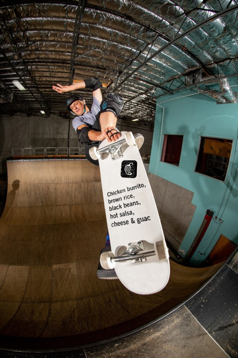 Tony Hawk Skating, before playing his own video game and promoting his new chipotle burrito