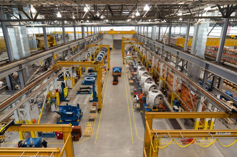 An assembly line manufacturing a product